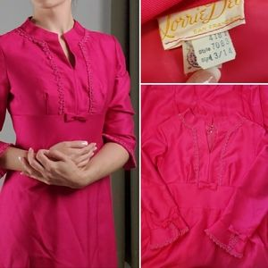 Vintage 1960s fuschia pink mod maxi dress
